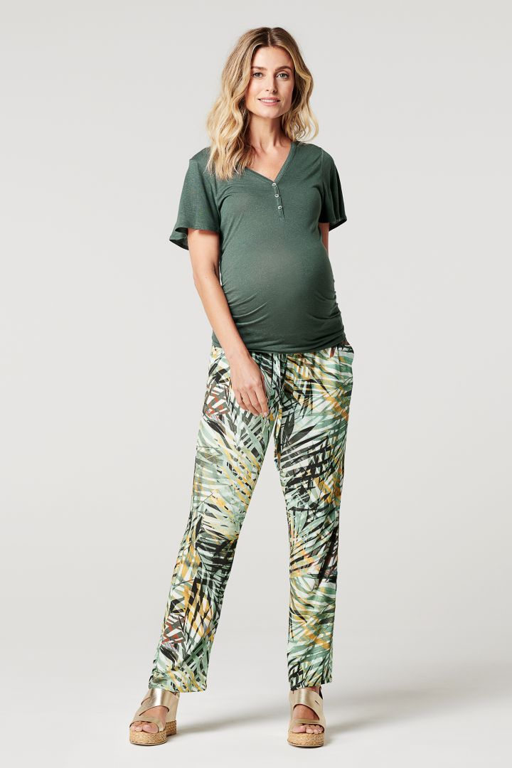 Maternity and Nursing Shirt with Short Cap Sleeves