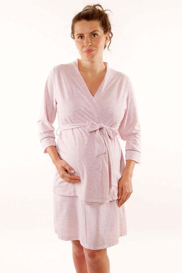 zeitloses Design abgeholt Schönheit Umstands- und Stillnachthemd mit Morgenmantel rosa