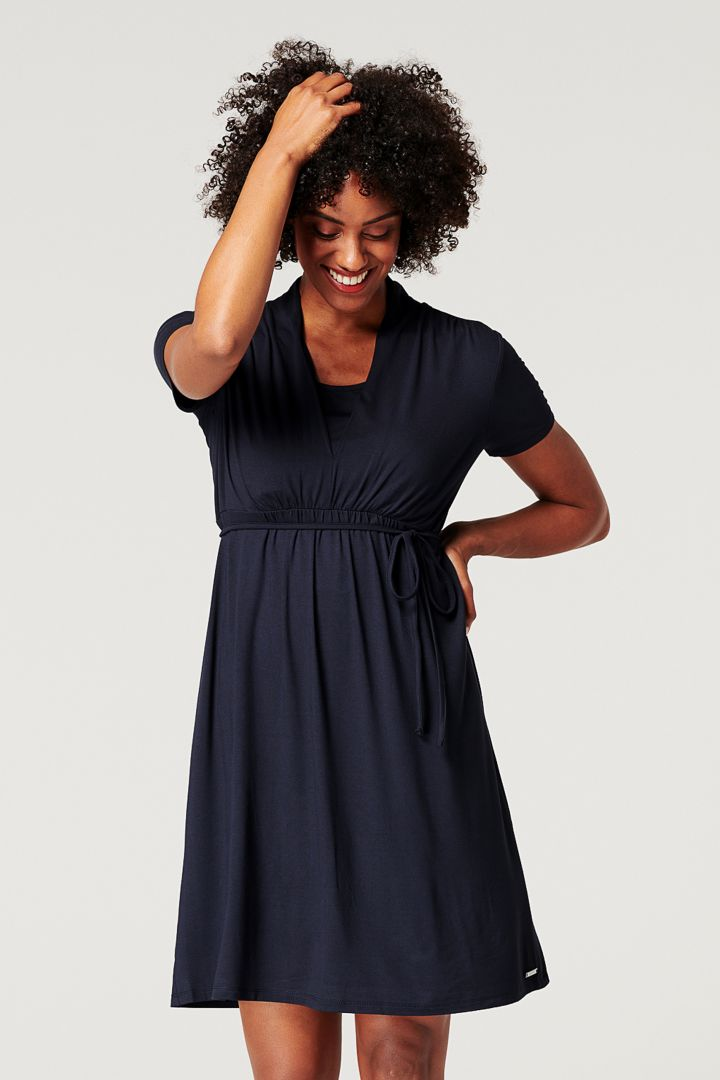Ecovero Maternity and Nursing Dress with Tie Belt navy
