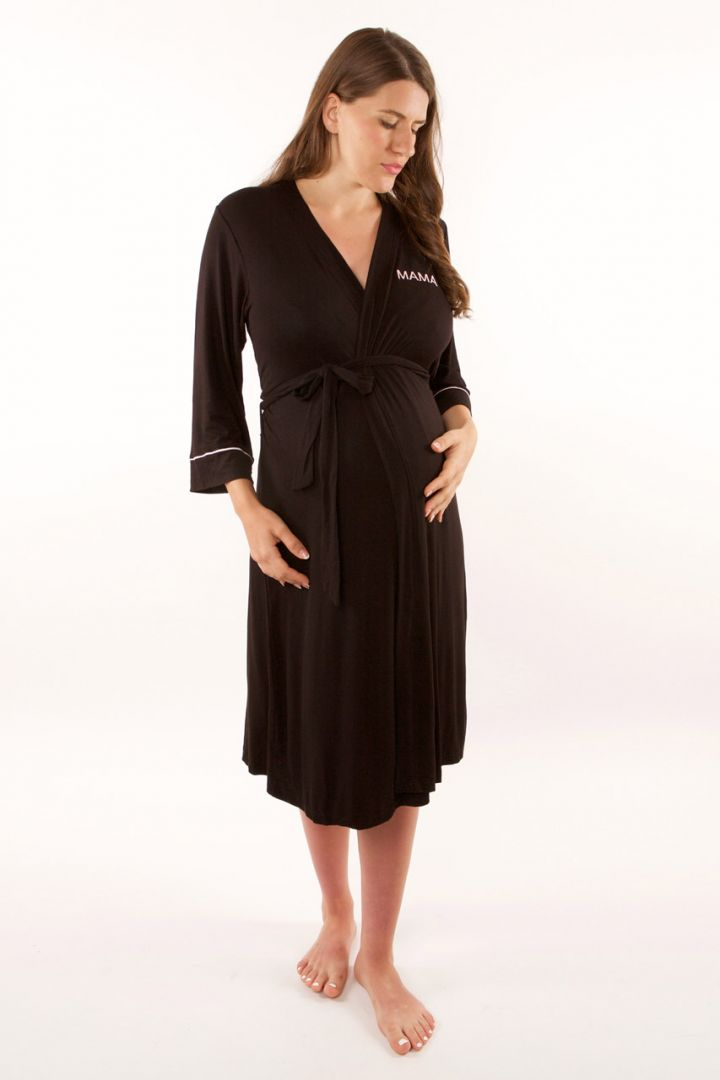 Maternity Dressing Gown Mama black