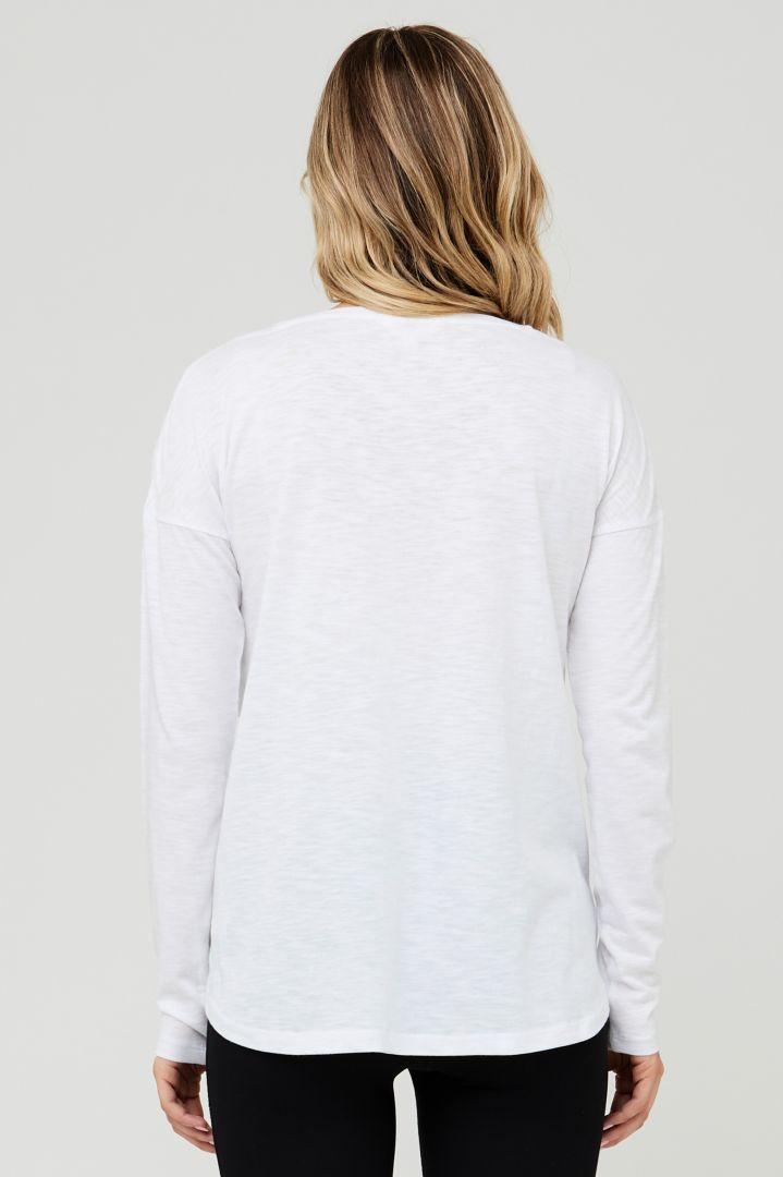 Umstands- und Stillshirt langarm Relax Fit weiß