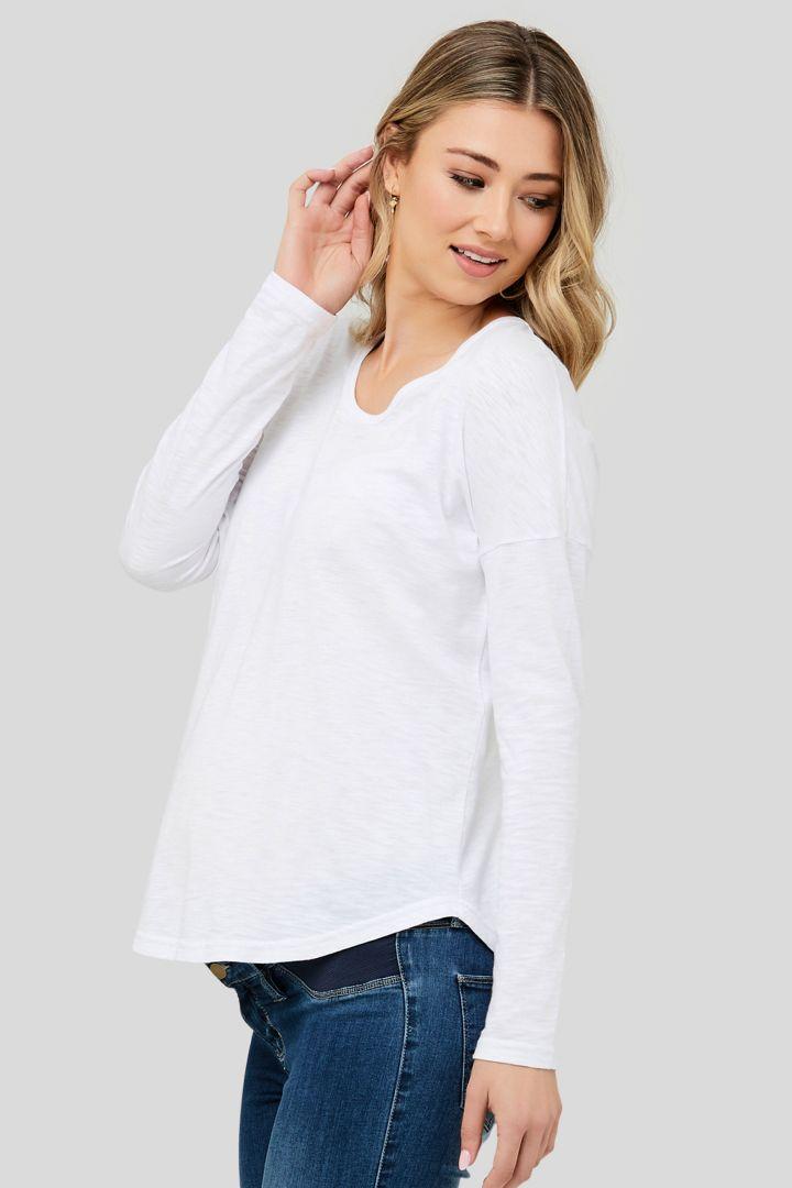 Relaxed Maternity Shirt Long Sleeve white