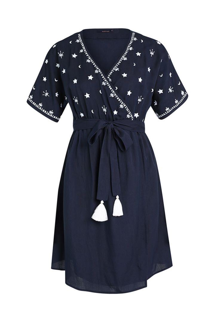 maternity dress third eye col.2 night blue