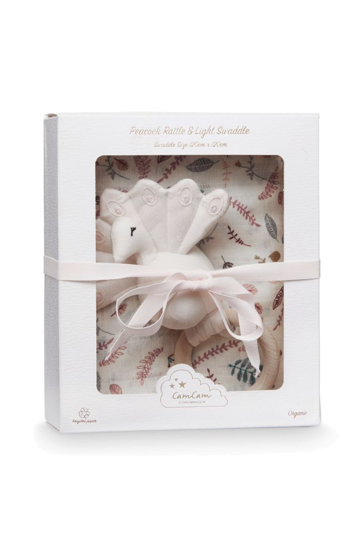 Gift Box with Swaddle and Rattle rose