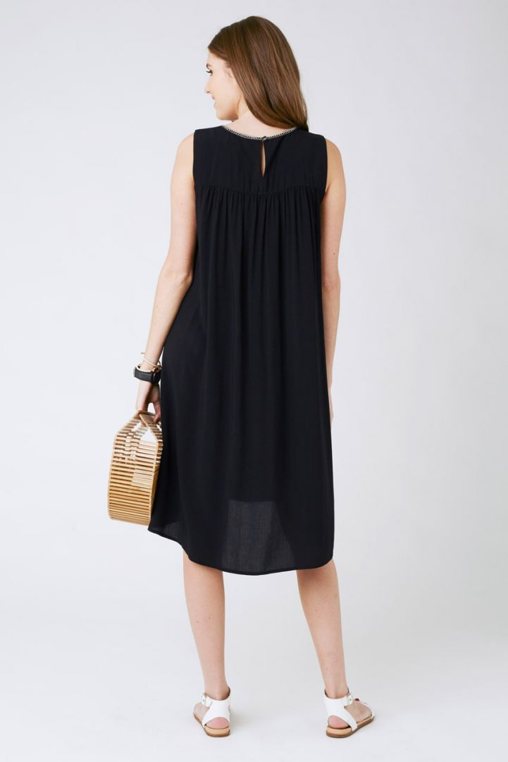 Maternity Dress with embroidery black