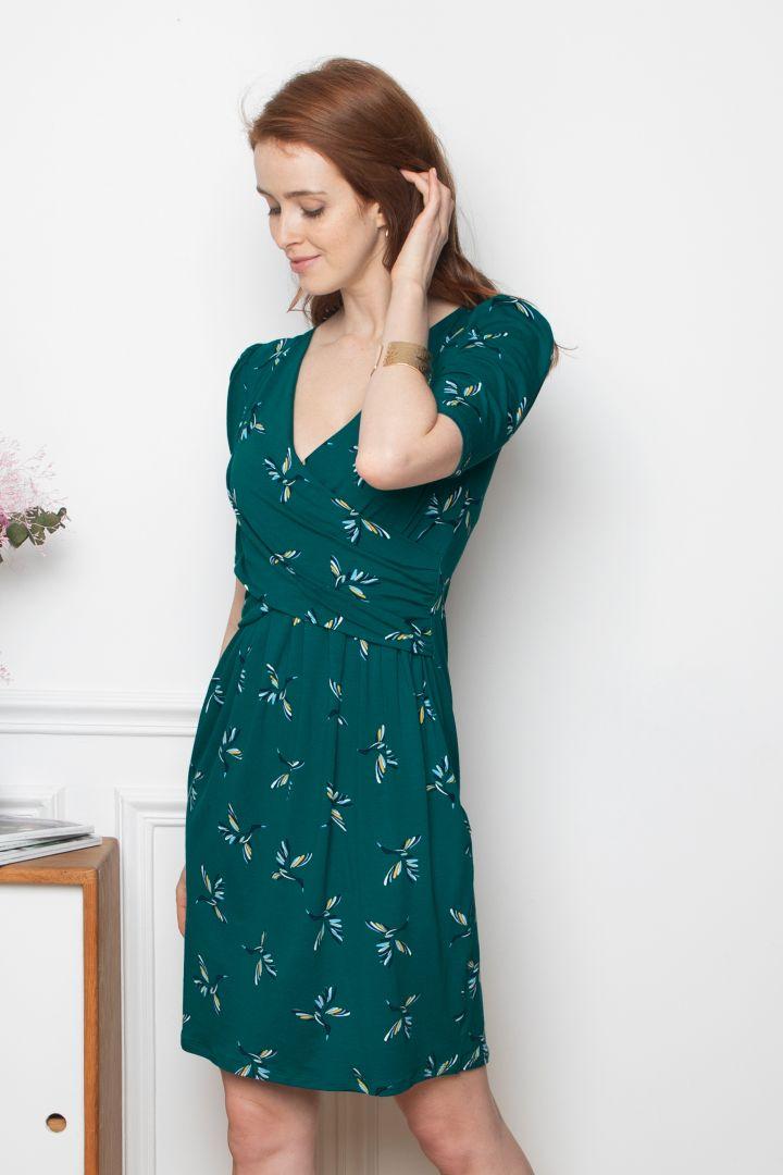 Cross Over Maternity and Nursing Dress with Bird Print