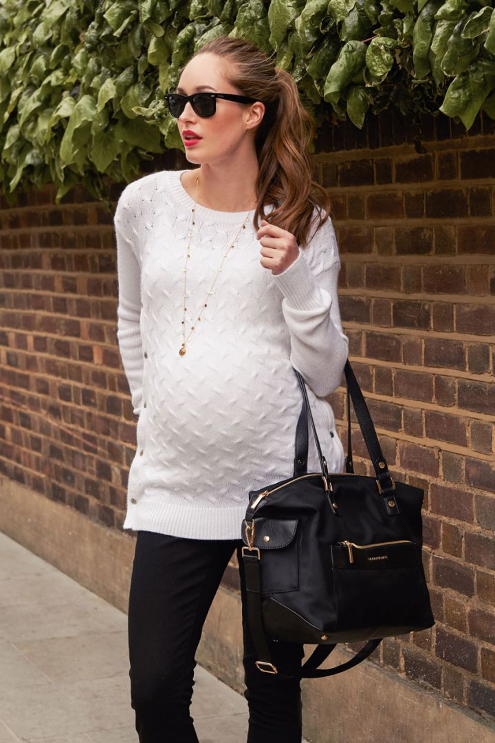 Maternity Pullover with Side Nursing Access white