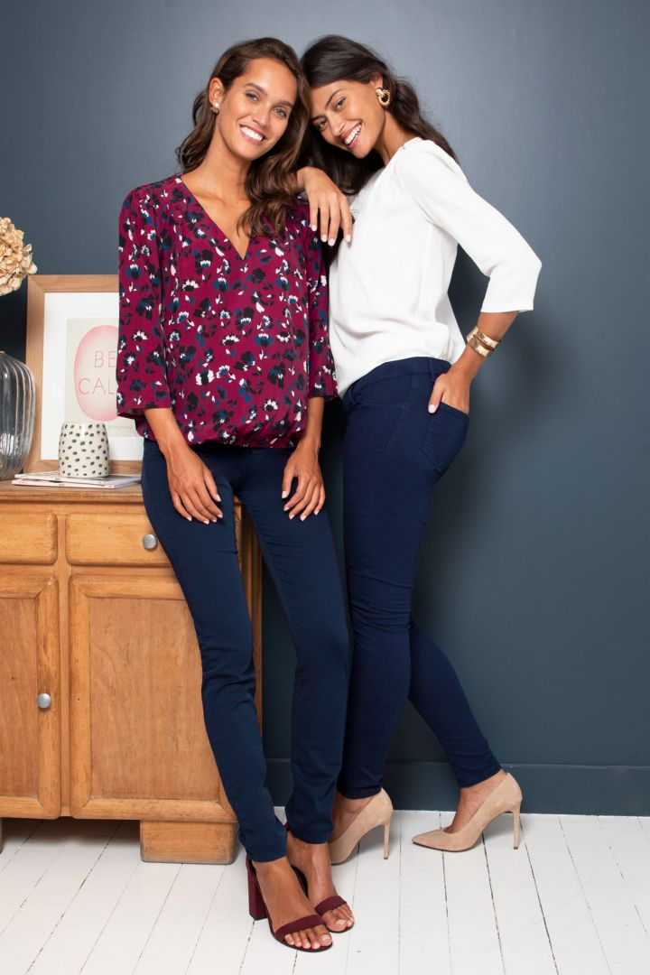 Slim Fit Maternity Trousers with Seamless Band navy