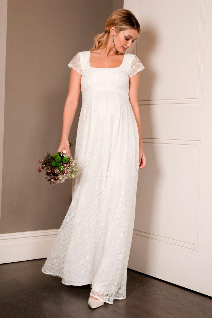 Braut Umstandskleid lang mit Schärpe