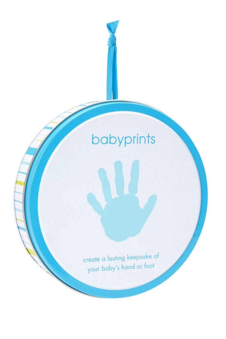 Baby Hand oder Fuß Abdruckset Geschenkdose blau
