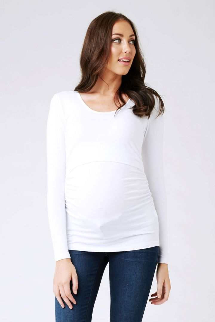Maternity shirt with nursing access white