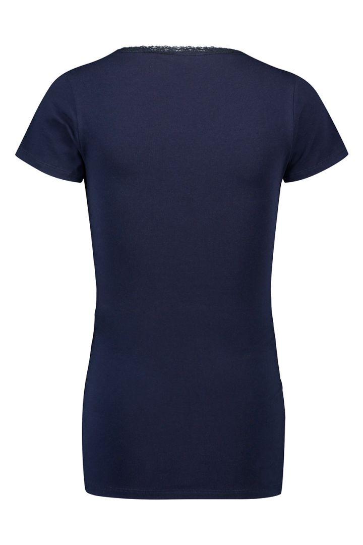 Maternity and nursing top in organic cotton, navy