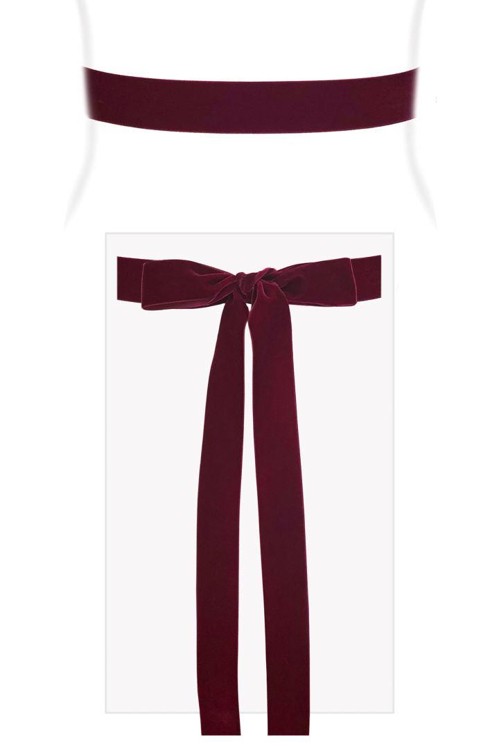 Velvet Ribbon sash burgundy