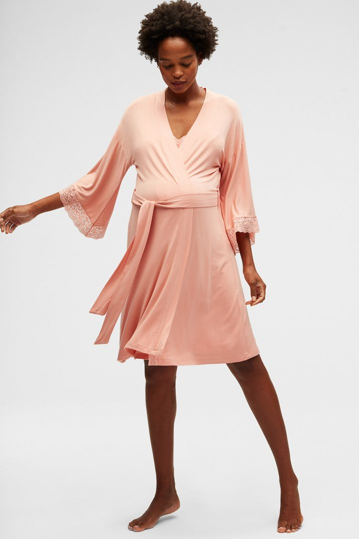 Kimono Maternity Dressing Gown with Lace coral pink
