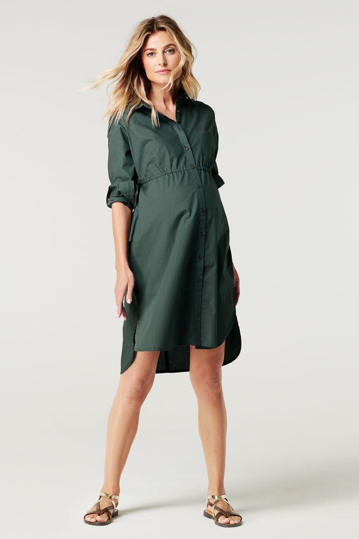 Cotton Maternity and Nursing Shirt Dress
