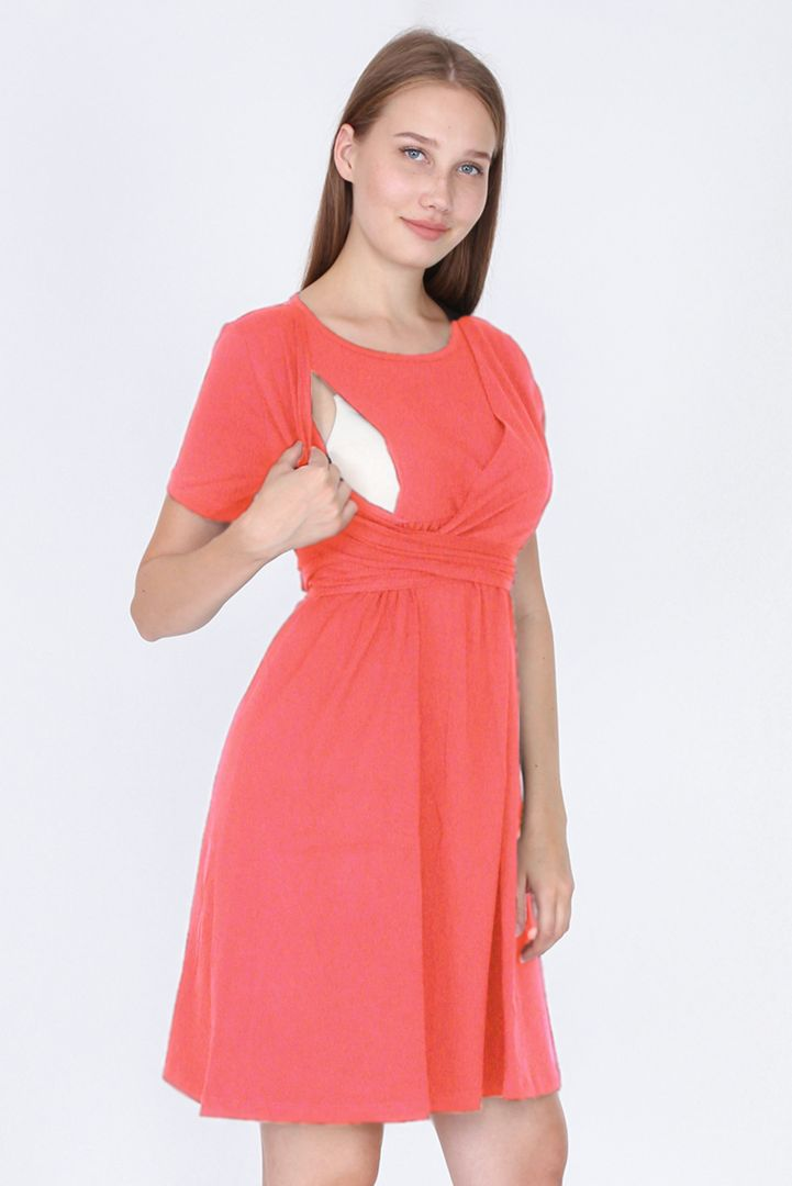 Maternity and Nursing Wrap Dress coral