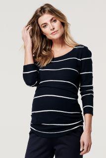 Fleece Umstands- und Still-Pullover mit Streifen blau