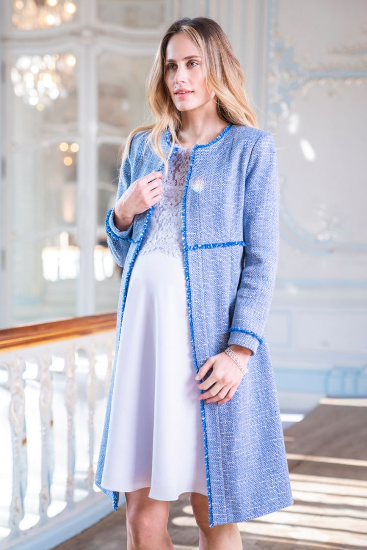 Maternity and Nursing Dress with Lace Bodice light blue