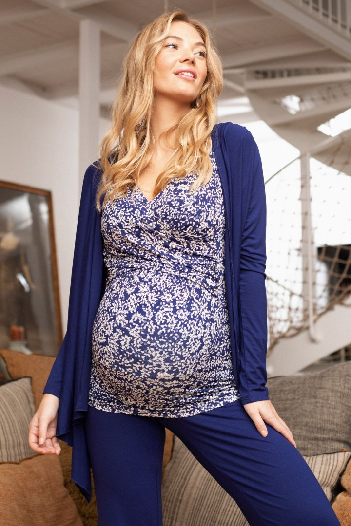 Maternity and Nursing Homewear 3 Pcs-Set navy/print