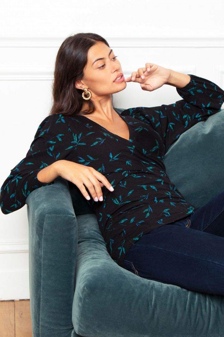 Cross-Over Maternity and Nursing Shirt Eucalyptus