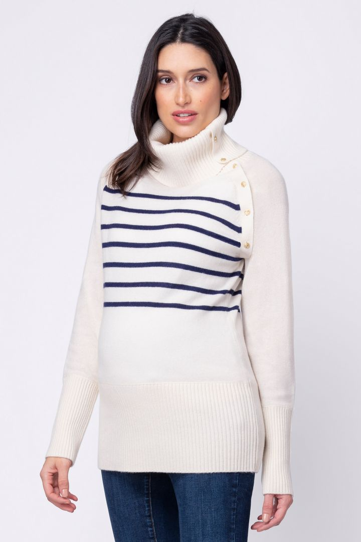 Nautical maternity sweater with lateral nursing opening