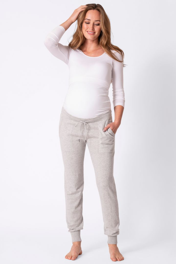 Maternity Knitted Trousers with Elastic Waist grey