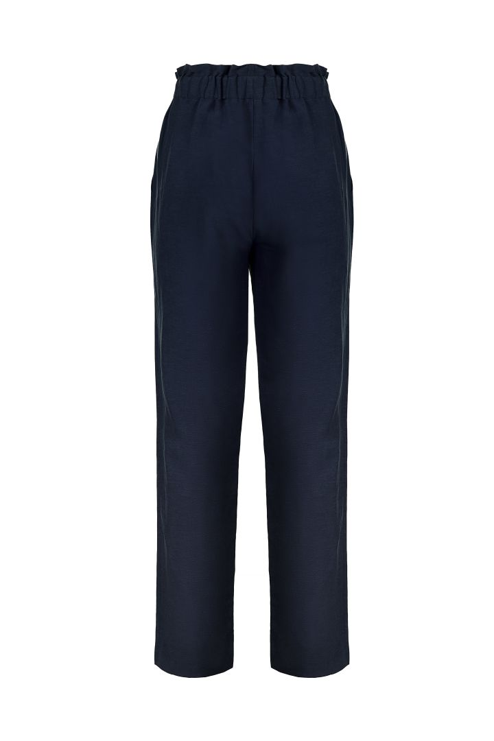Paperbag Linen Maternity Trousers navy