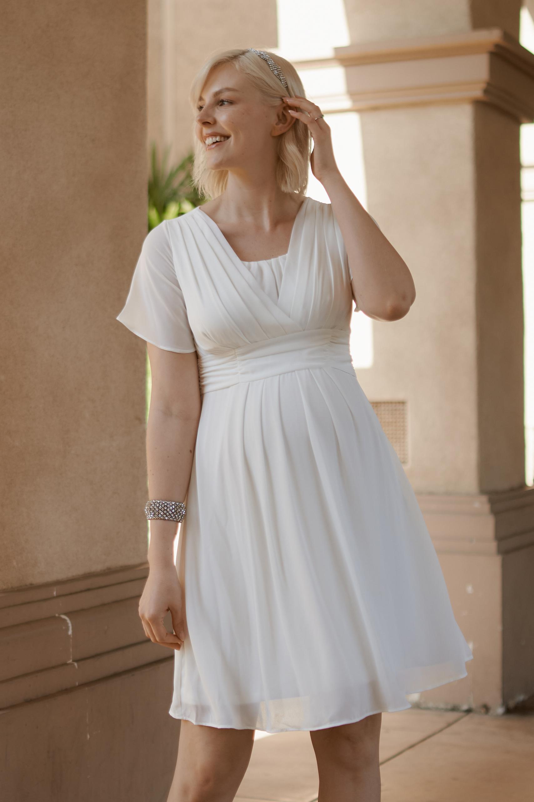 Chiffon Maternity and Nursing Wedding Dress   Short Maternity ...