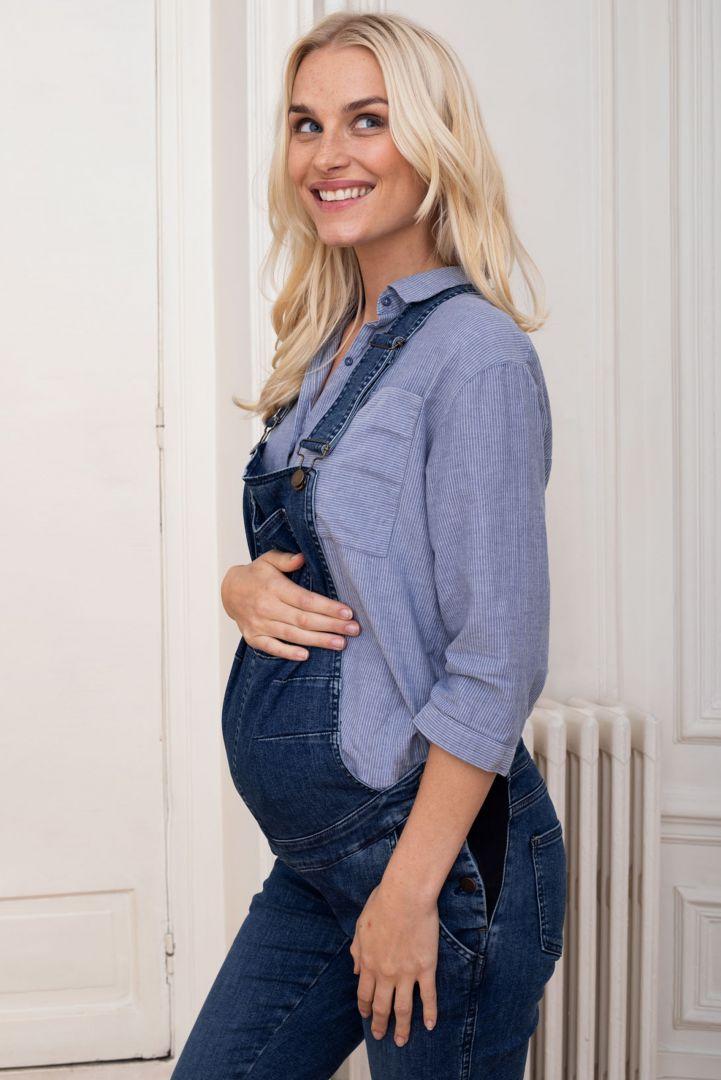 Slim Fit Maternity Dungarees denim