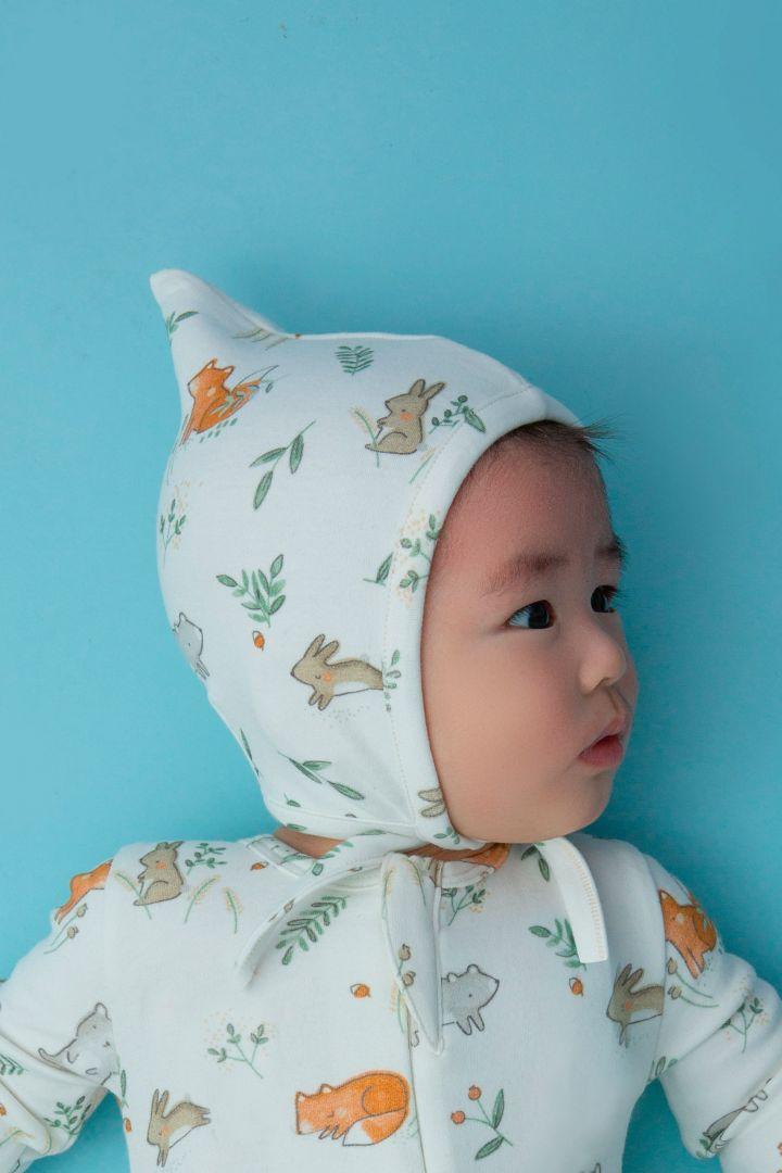 Waldtiere Mütze weiß aus Bio-Baumwolle