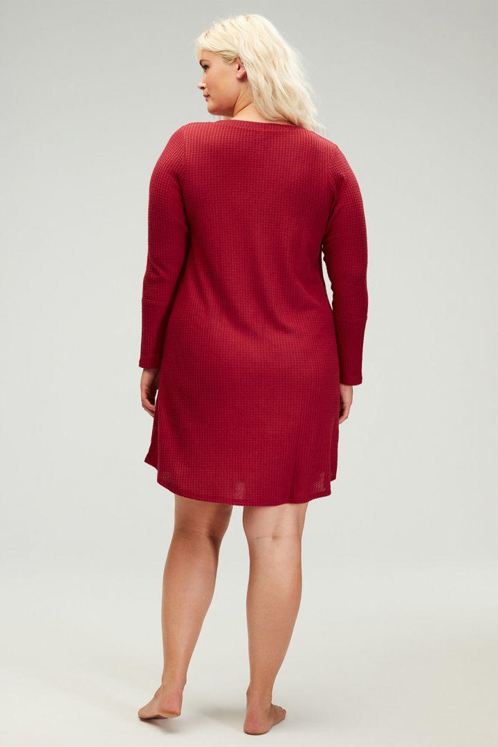 Umstands- und Still-Nachthemd aus Waffelstrick rot