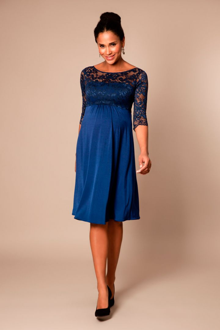 Festive Maternity dress with open back imperial blue