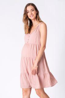 Umstands- und Stillkleid mit Pompomborte rosa
