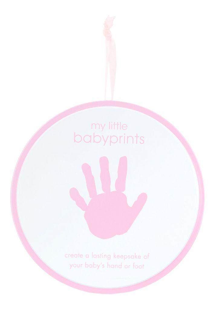 Baby Hand oder Fuß Abdruckset Geschenkdose rosa