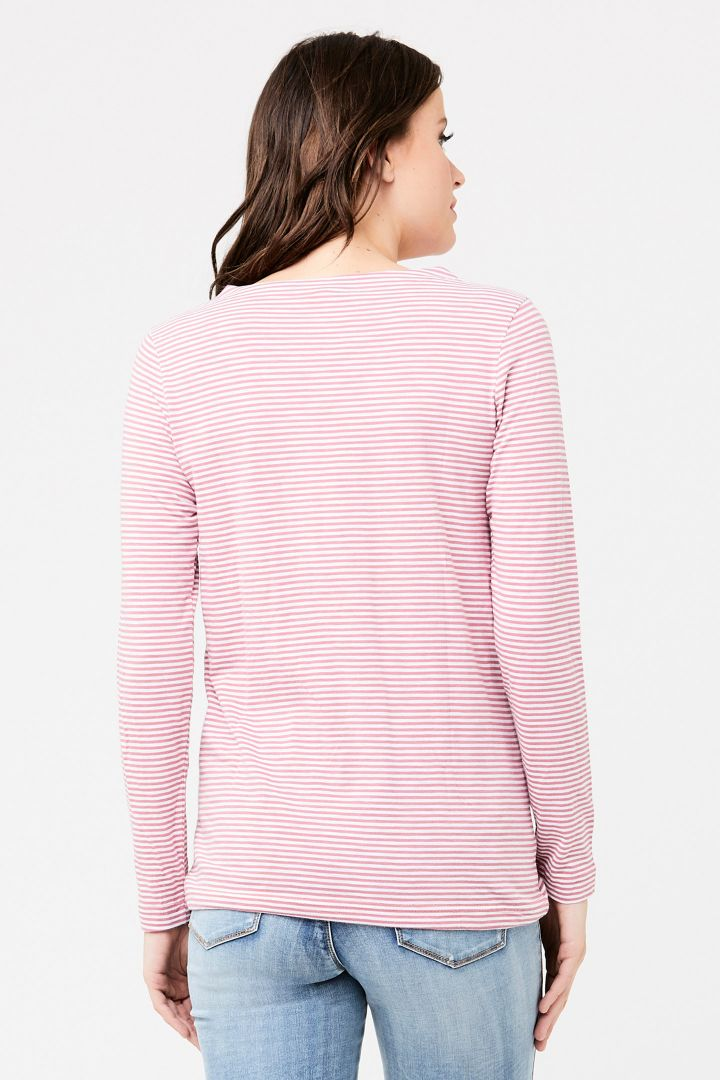 Maternity shirt with drawstring and pink/white stripes