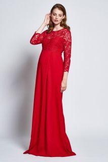 Umstands-Abendkleid aus Crepe und Spitze