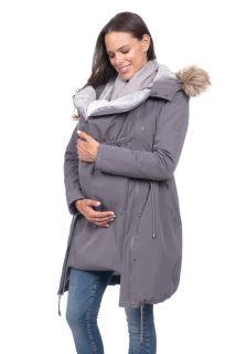 Premium Umstandsparka mit Babytrage-Einsatz grau