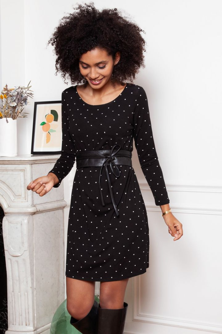 Long Sleeved Maternity Dress with Dots