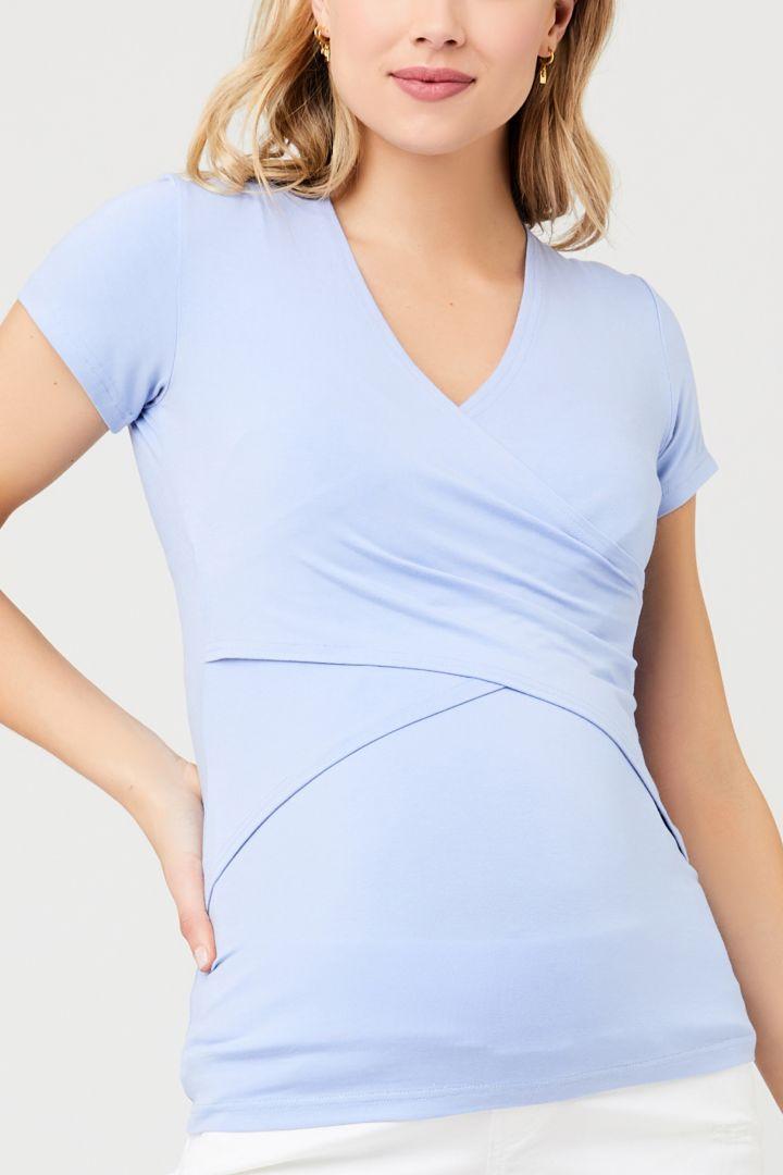 Cross-Over Maternity and Nursing Top light blue