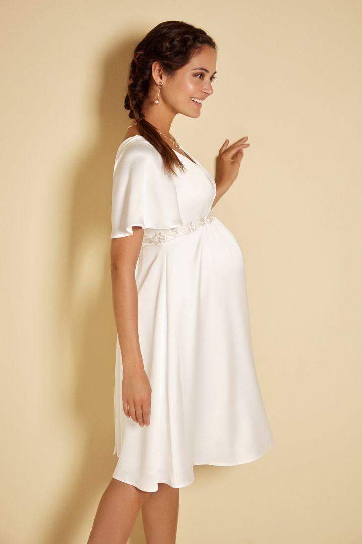 Short Maternity Wedding Dress with Kimono Sleeves