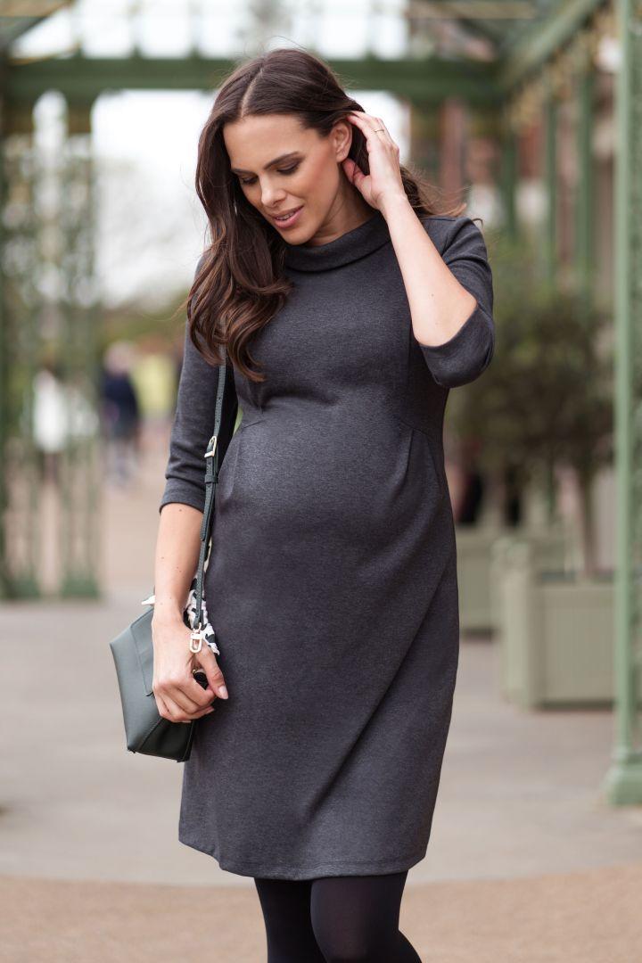 Funnel Neck Maternity Dress