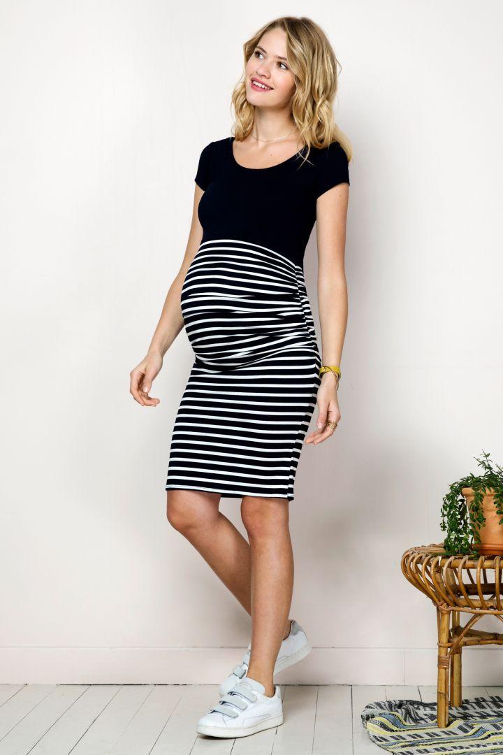 Umstands- und Stillkleid mit Streifenrock