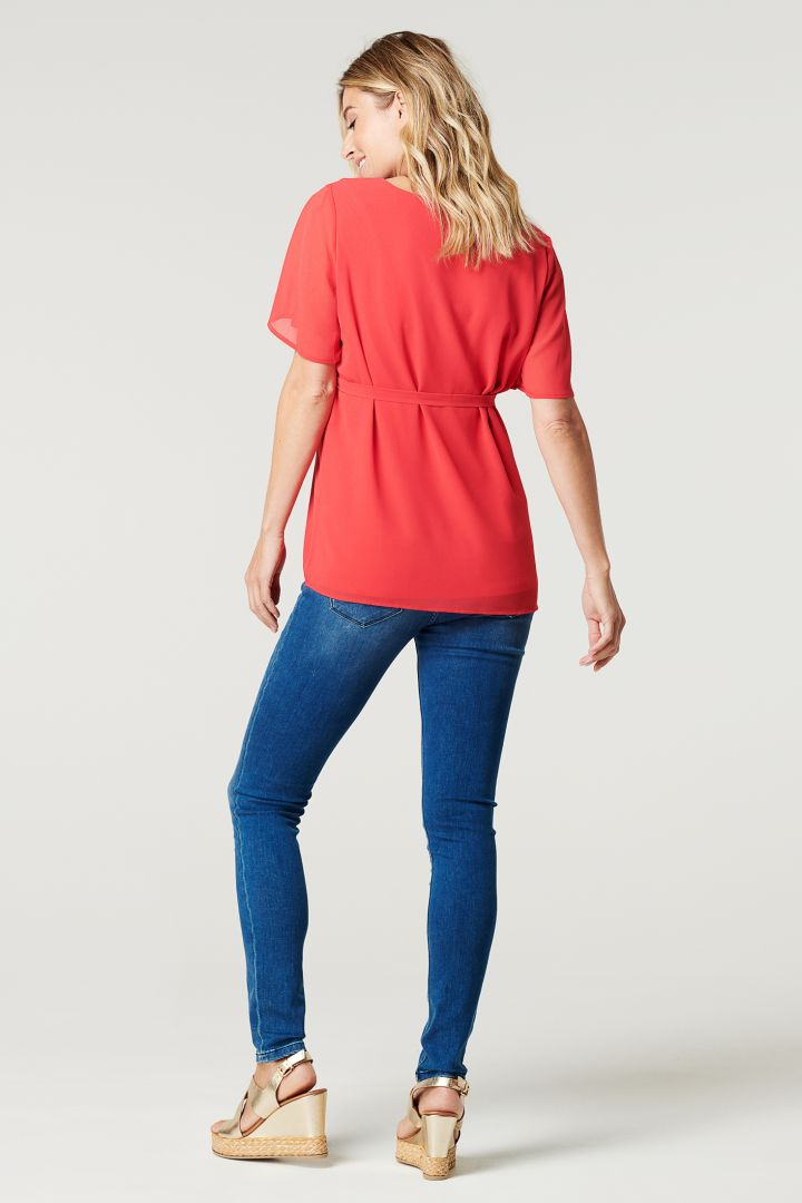Chiffon Maternity Blouse with Tie Belt red