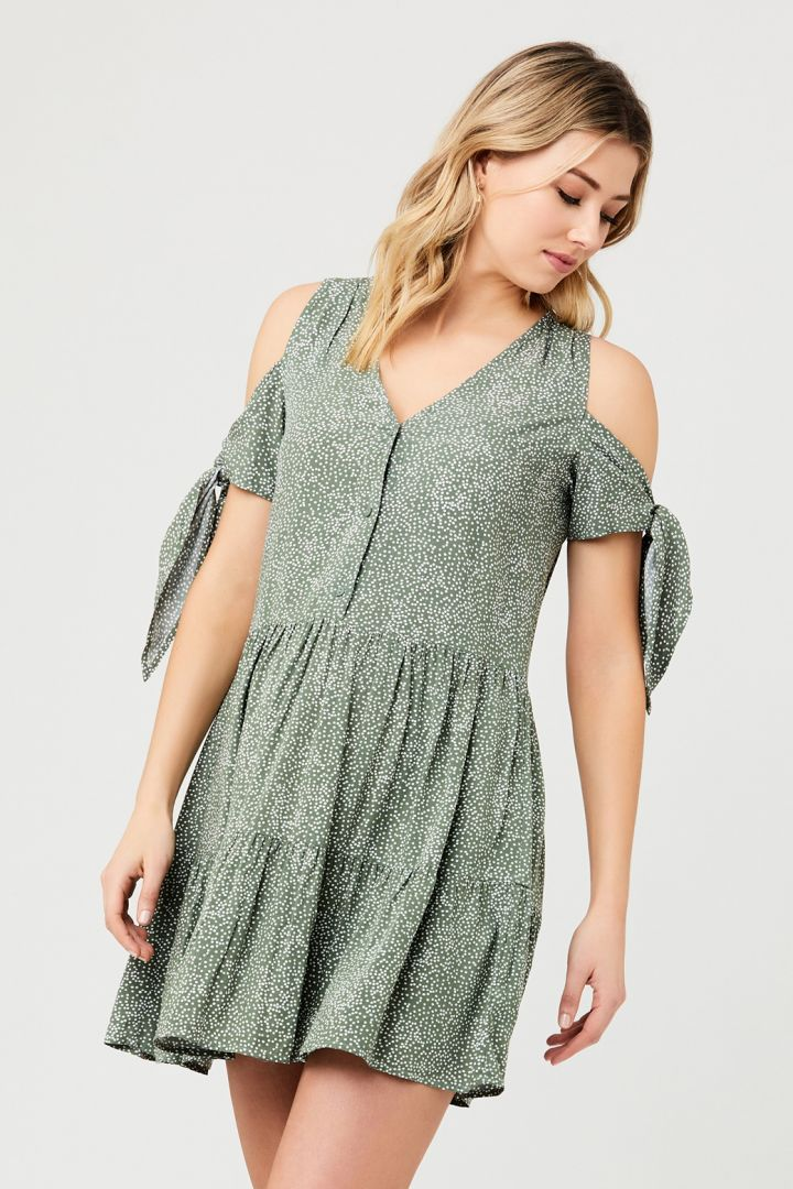 Maternity and Nursing Dress with Tied Sleeves