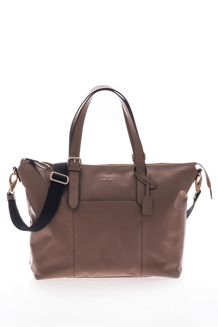 Diaper tote bag made of leather, taupe