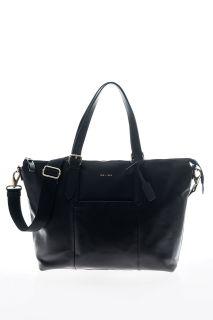 Shopper Wickeltasche aus Feinleder schwarz