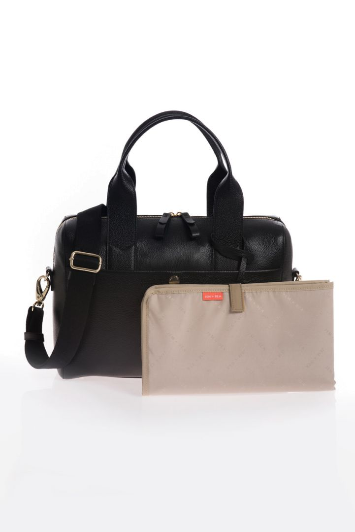 Diaper bag made of leather, black