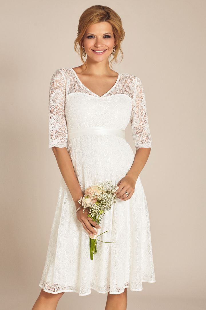 A-Line maternity wedding dress with 3/4 sleeves