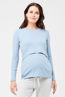 Umstands- und Stillshirt mit Rippstruktur hellblau