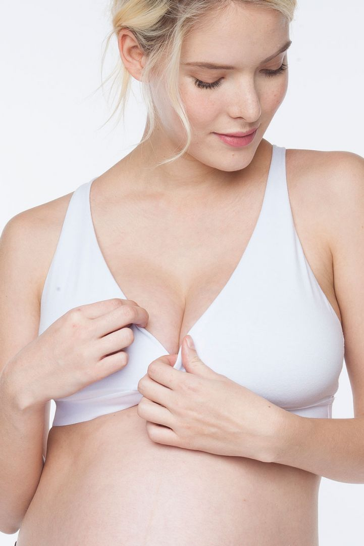 Sleep nursing bra with lace back white